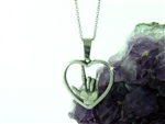"American Sign Language ""I love you"" Heart Necklace(med pendant), (S244  ASL  ""I love you"" hand symbol Necklace"
