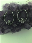 Double Sided Scottish Thistle Hoop Earrings (S324), Stainless Steel Scottish Hoop earrings