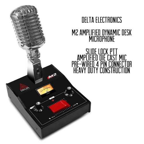 GOLD DELTA M2 AMPLIFIED DYNAMIC POWER BASE MICROPHONE 4 pin Cobra CB HAM MIC