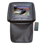 Pyle PLD72BK Black Headrests w/ Built-In 7'' LCD Monitor w/ Built in DVD Player & IR/FM Transmitter With Cover