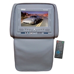 Pyle PLD72GR Gray Headrests w/ Built-In 7'' LCD Monitor w/ Built in DVD Player & IR/FM Transmitter With Cover