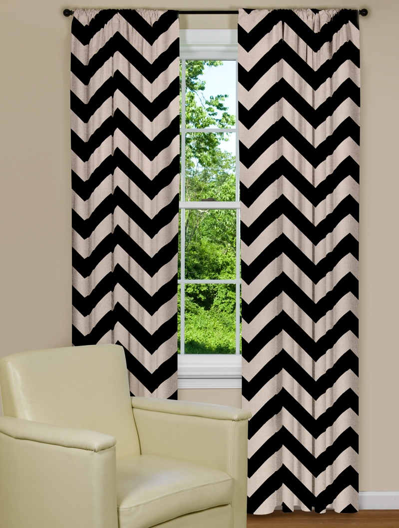 and curtains chevron black curtain houzz catchy white