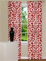 Modern Curtains With Large Ikat Print on Red Background