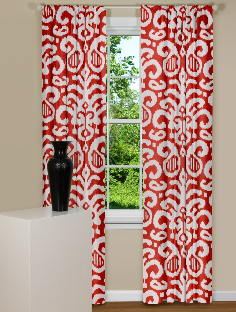 Modern red curtains fergana ikat for Where to buy curtain panels