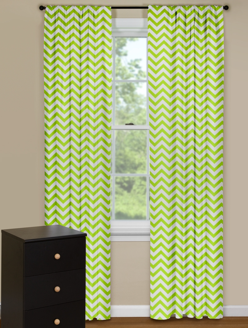 Yellow modern curtain panels - Modern Curtain Panels With Chevron Pattern In Green And White