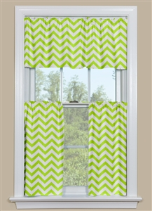 Curtains for a Bathroom Window or Kitchen Window - Chevron Pattern in Green and White - Cafe Curtains for Bathroom