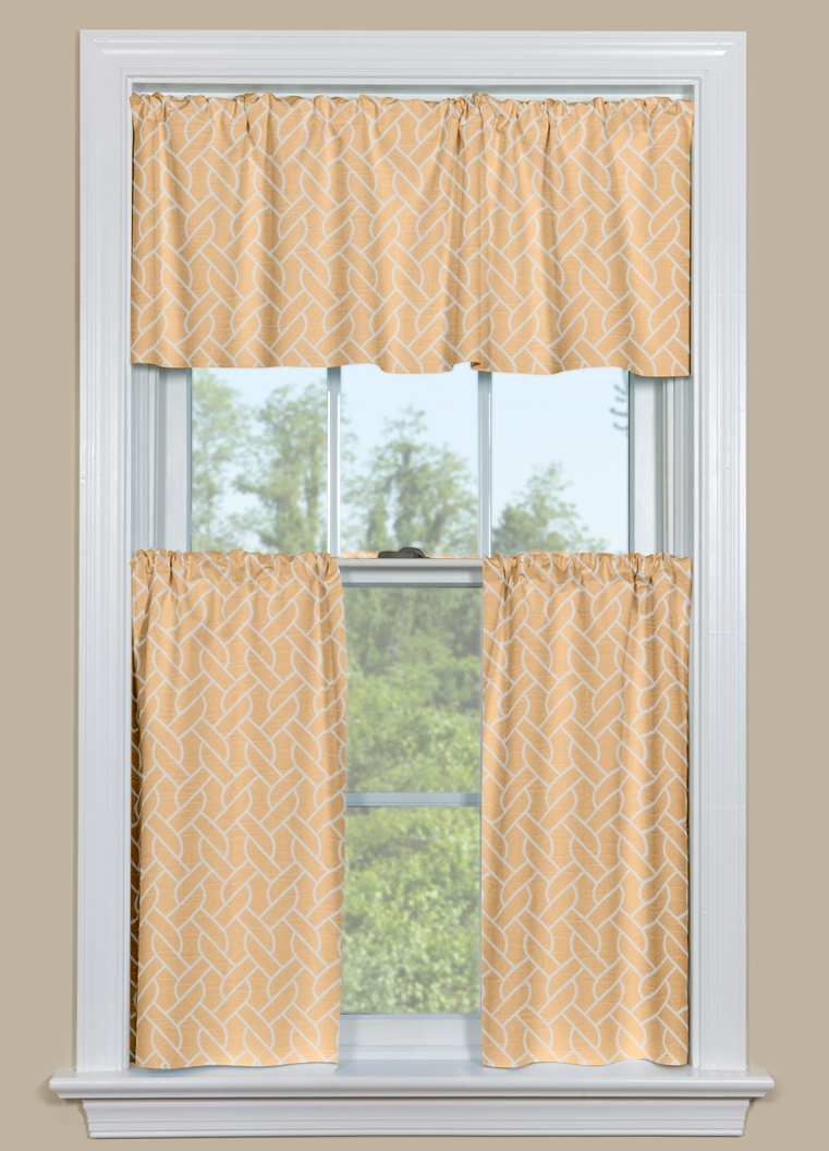 geometric kitchen curtain with twisted rope design in brown
