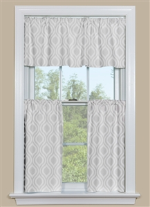Kitchen Curtain Panels With Retro Ogee Petite Pattern in Greyjavascript: