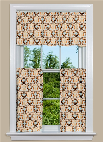 Kitchen Curtains with Glam Design in Orange and Blue