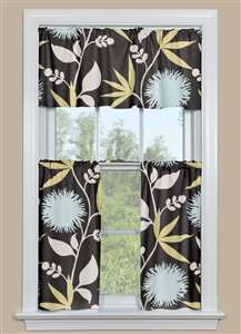 Modern Floral Curtains With a Slate Background