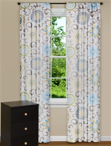 Modern Floral Curtains with Blue Flowers