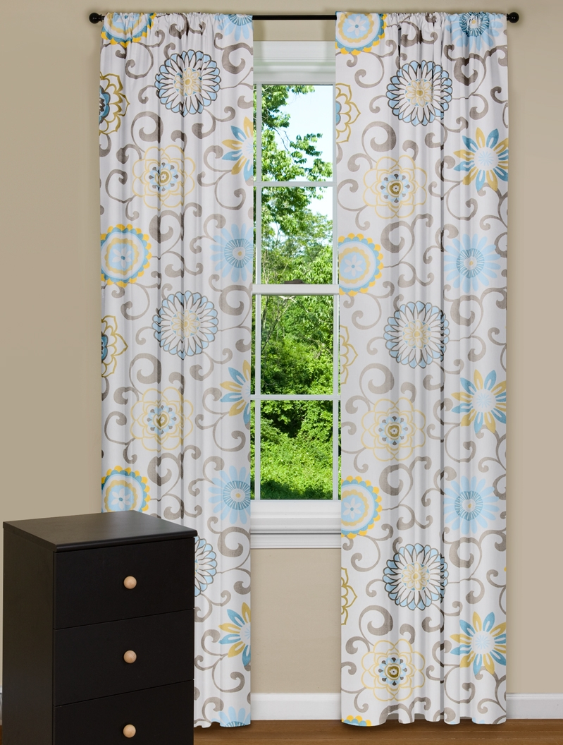 Modern Floral Curtains Pom Pom Play Spa Blue