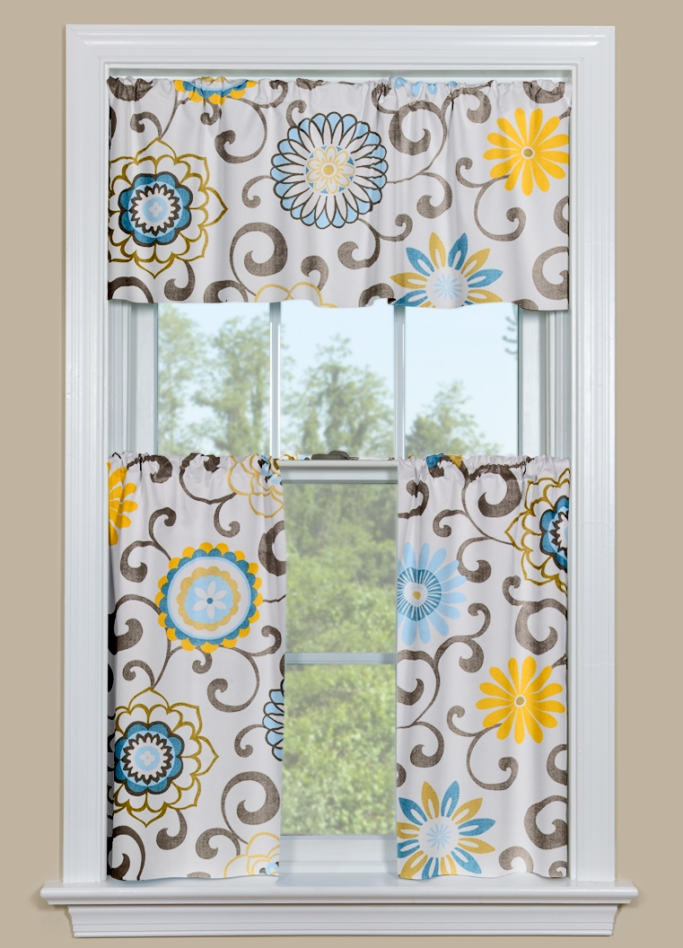 Kitchen Curtains Pom Pom Play Spa - Blue and yellow kitchen curtains