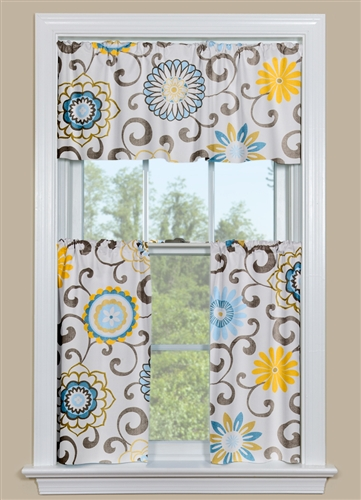 Floral Kitchen Curtains with Blue and Yellow - Modern Style