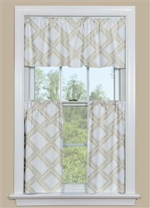 Geometric Kitchen Curtain Panel in Dune and Grey