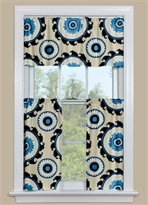 Kitchen Window Curtains With Large Medallion Design in Blue