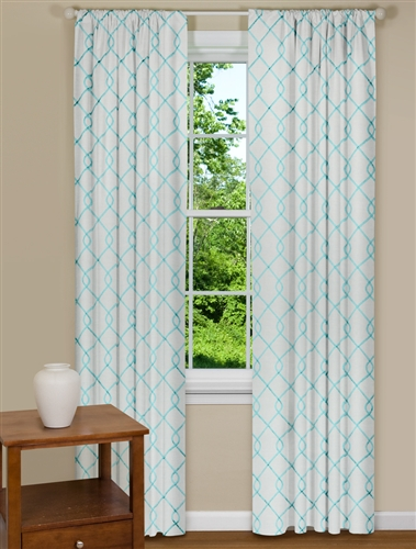 Modern Curtains Embroidered in Aqua Blue