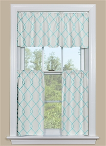 Embroidered Kitchen Curtain Panel in Aqua Blue