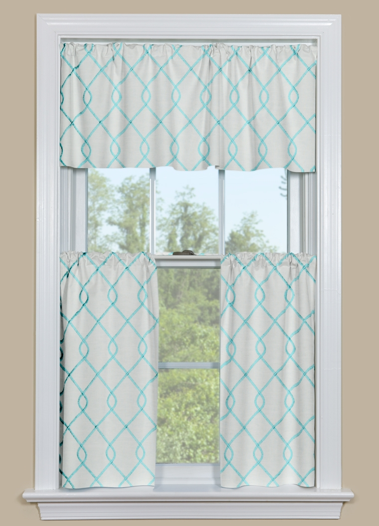 Aqua Kitchen Curtains & Valance - Rico Aqua