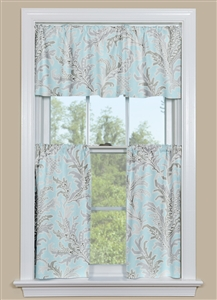 Blue and Grey Beach Themed Kitchen Curtain - Tempest Blue