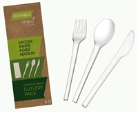 EMI-GRPKCP GREENABLES CPLA Fork, Knife, Spoon, Napkin Pack Set