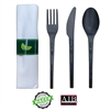 Emi-GRRKCP Disposable Compostable Forks Spoons Knives & Napkin Cutlery Set