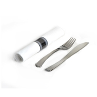 Glimmerware EMI-GWFKN Silver Plastic Rolled Cutlery Kit - Fork And Knife Napkin 100 Sets