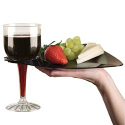 "EMI-Yoshi Emi-Trbp9 Disposable Plastic 9"" Triangle Cocktail Buffet Plates With Wine Cup Holder"