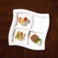 "EMI Yoshi 9.75"" Plastic Square Wave Compartment Trays"