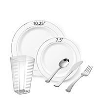 Glimmerware Full Party Package White with SILVER RIM Larger Size