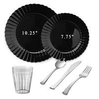 Scalloped Full Party Package Black Larger Size