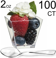 Zappy 400 Square Mini Dessert Cups 2oz Clear Tasting Sample Shot Glasses Dessert Cups & Spoons Disposable Plastic Appetizer Bowls Mini Parfait Cups Small Tumblers Tasting Glasses Dessert Shooters