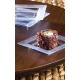 "Zappy 3"" Disposable Clear Square Mini Dessert / Appetizer / Sushi Dish"