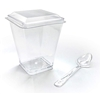 Square 5 oz Clear Dessert Cups with Lids and Clear Mini Spoons