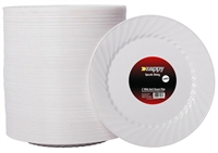 "Zappy 6"" Disposable Plastic White Dessert Plates Swirl Plates"
