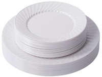 "Zappy 10"" 25 Disposable Plastic White Dinner Plates 25 Salad Plates Swirl Plates"