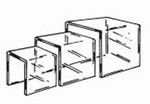 "Acrylic ""U"" Riser set of 3, 1/8"" thick plexi 3"", 4"" and 5"""