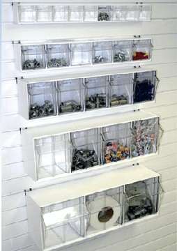 Charmant Slatwall And Pegboard Tilt Bins
