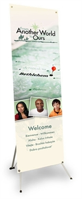 From Another World to Ours Vertical Banner and Stand (2'x5')