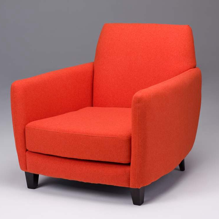 ON SALE Seriena Barcelona Sofa/Accent Chair upholstered in  Orange-red/Purple faux wool