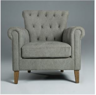 Seriena Santa Fe Tufted Back Accent Chair with Natural oak wood legs