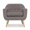 Seriena Reco Modern Mid Century Gray Tufted Sofa Chairs Natural Wood Legs | Gray Club Chairs
