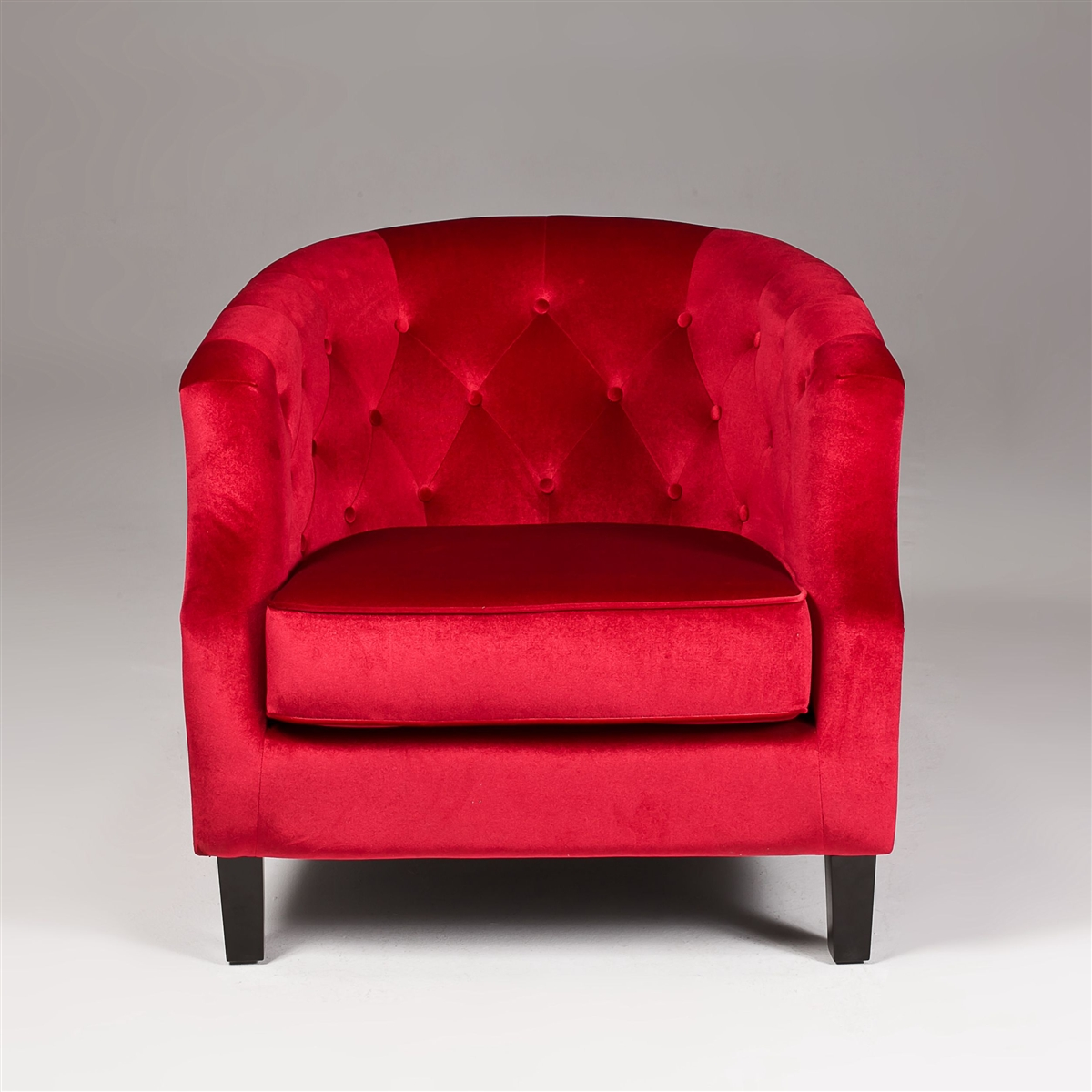 Stupendous On Sale Seriena Vienna Red Velvet Accent Chair Tufted Back Barrel Curved Back Ncnpc Chair Design For Home Ncnpcorg