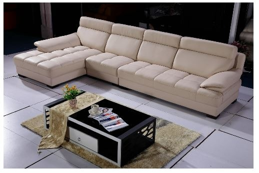 Seriena W series L Shaped 3 piece sectional Sofa with Chaise Lounge in  Beige Color with Top Grain Leather