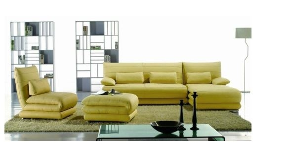 Yellow Leather Sectional | Sectional sofas with ottoman | Sectional ...