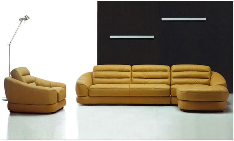 Yellow Leather Sectional Sectional sofas with Chair