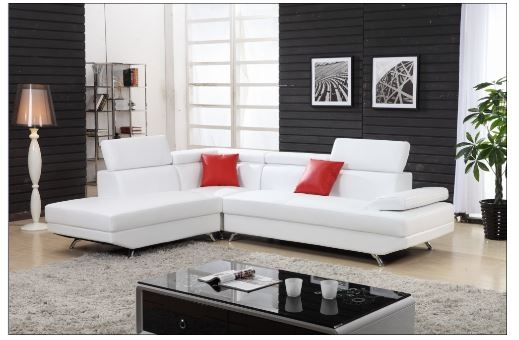 White Sectional sofa with chaise Leather sectional L shaped