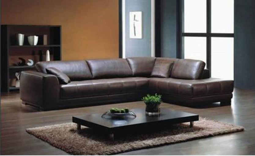 Large L Shaped Sectional Sofa Brown Leather