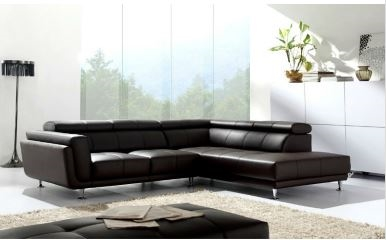 Black Leather Sectional Sectional Sofa with Chaise L shaped