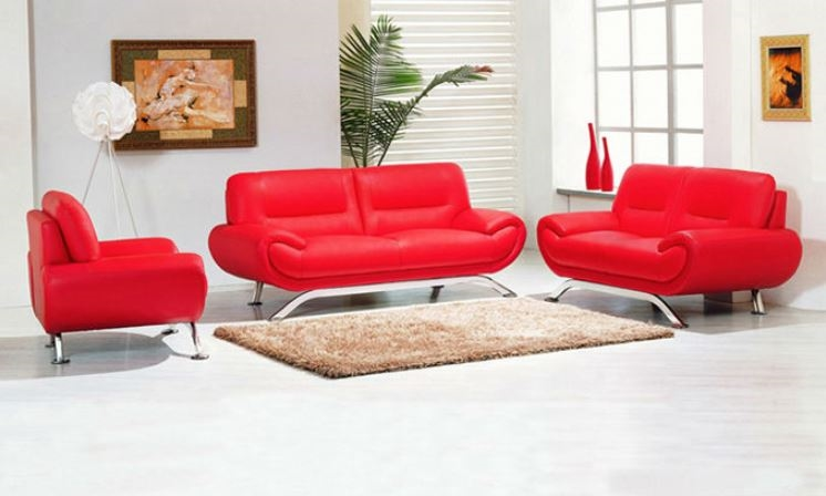 Seriena W series Modern Three Piece Sofa Set in Real Top Grain Leather